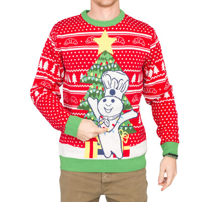 Rock the Doughboy in this themed sweater. Gifts, twinkling lights and a perfectly decorated tree stand out against the traditional Christmas color scheme of this design. Produced in partnership with UglyChristmasSweater.com