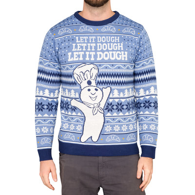 With a wintery theme, this sweater highlights two of Pillsbury's most beloved icons - the Doughboy and crescent rolls – complete with a baking-inspired phrase that will leave spirits merry and bright! Produced in partnership with UglyChristmasSweater.com