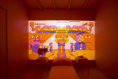 LSD, the supergroup comprised British musician Labrinth, Australian singer Sia and American music producer Diplo, as well as pop art illustrator Gabriel Alcala were tapped to create custom animations, digital projections and a show-stopping playlist for its first Pantone Pantry by Tribute Portfolio.
