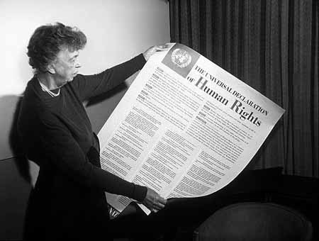 Eleanor Roosevelt, Chair of the UN Human Rights Commission, with the text of the Universal Declaration of Human Rights (public domain)