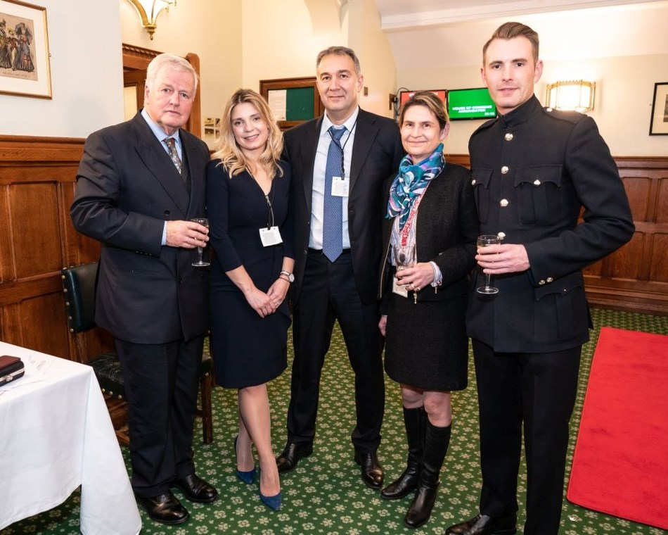 Colonel Bob Stewart MP (left) with Dmitry Leus (centre) and guests at the Palace of Westminster (PRNewsfoto/St George's Hospital Charity)