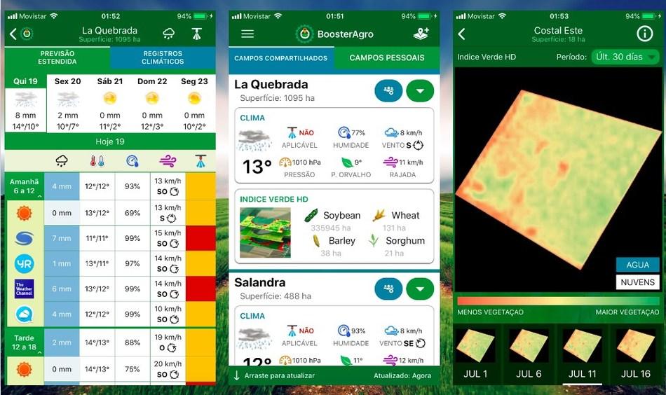 Fim para as previsões meteorológicas erradas: BoosterAgro, é o aplicativo que traz para você a previsão do tempo mais precisa para sua fazenda.