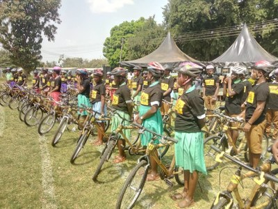 Female and Male Student Recipients Lined Up at the Dormaa District Bamboo Bike Distribution