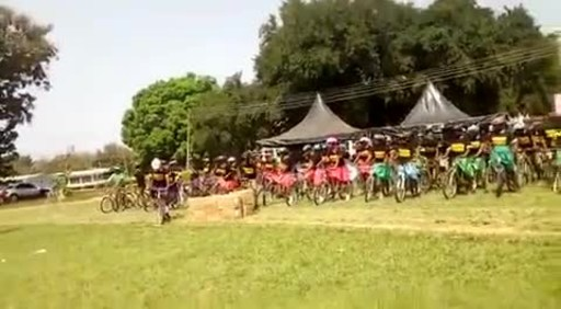 Students at a Dormaa District High School Ride Away After Just Receiving Their New Bikes