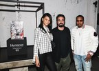"""Model Chanel Iman, urban artist Alexandre Farto – aka """"Vhils"""", and musician Nas at the 2018 Hennessy Very Special Collector's Edition by Vhils event during Miami's art week on December 5, 2018. The private dinner officially unveiled the Hennessy Very Special Collector's Edition by Vhils – a limited-edition release of 100 unique individually-signed pieces designed using the art-world phenomenon's famed 'Making the Invisible Visible' technique."""