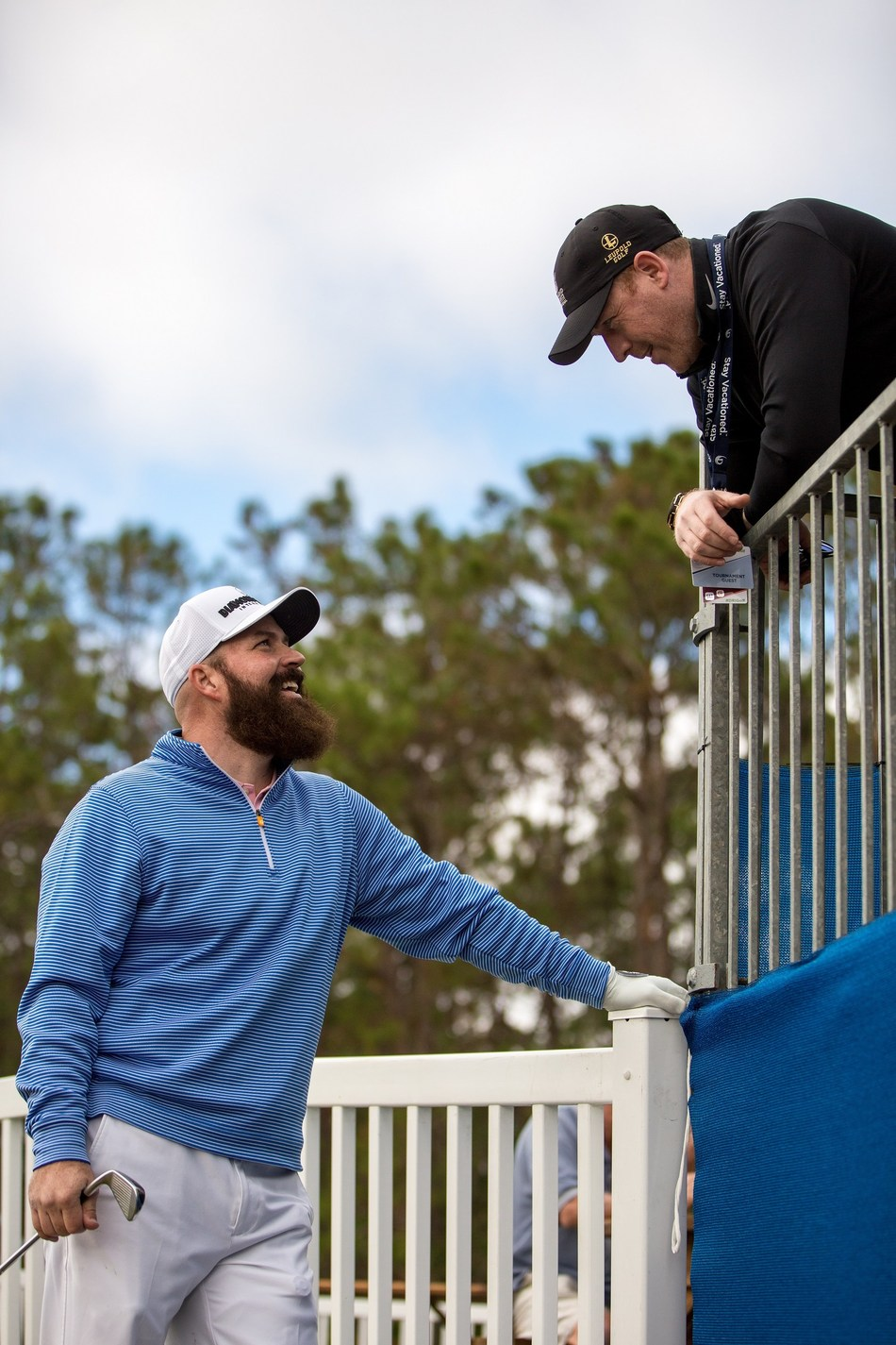 Retired U.S. Army Cpl. Chad Pfeifer, who is an Iraq War veteran, amputee and three-time champion of the Bush Institute Warrior Open, talks with a fan during the 2018 Diamond Resorts golf tournament. Pfeifer is scheduled to compete in the inaugural Diamond Resorts Tournament of Champions Presented by Insurance Office of America, the LPGA Tour's new 2019 season opener, held Jan. 17-20, 2019.