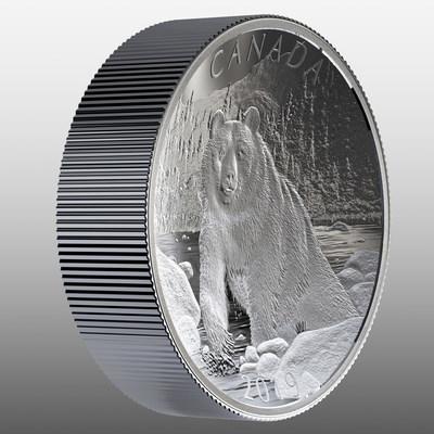 La pièce biconcave en argent fin de la Monnaie royale canadienne – Nature indomptée : Ours brun (angle revers) (Groupe CNW/Monnaie royale canadienne)