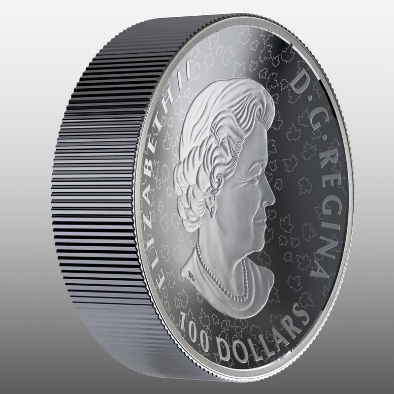 La pièce biconcave en argent fin de la Monnaie royale canadienne – Nature indomptée : Ours brun (angle avers) (Groupe CNW/Monnaie royale canadienne)