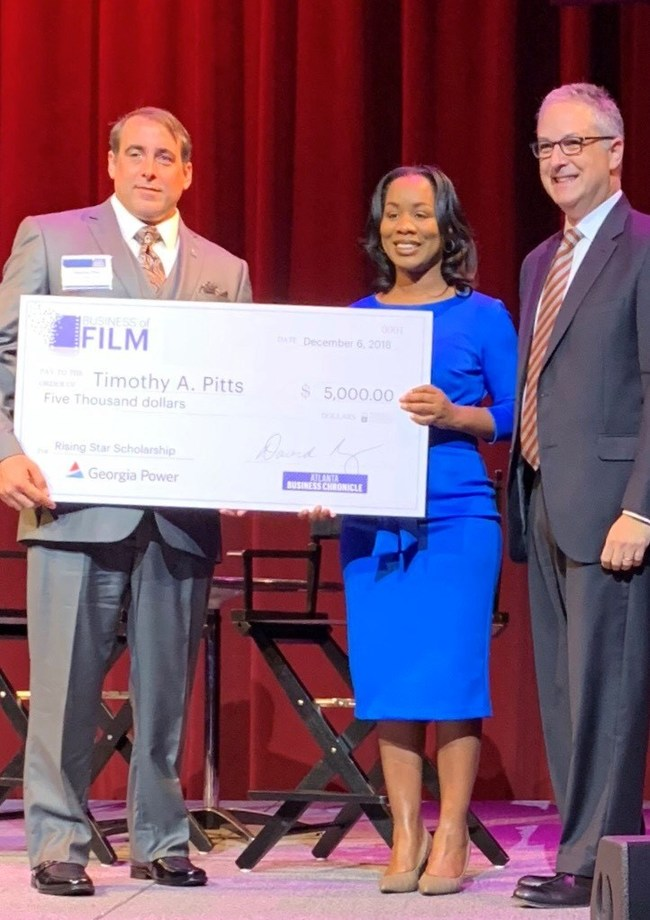 L to R: Timothy Pitts, scholarship recipient - Terrilyn Simmons, brand strategy manager at Georgia Power and David Rubinger, president and publisher at Atlanta Business Chronicle