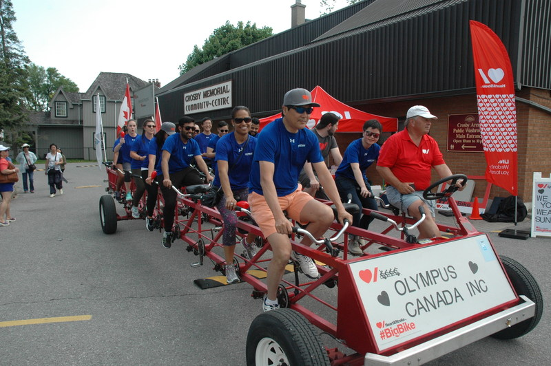 Olympus Canada employees participate in the Big Bike event to support the Heart and Stroke Foundation of Canada.