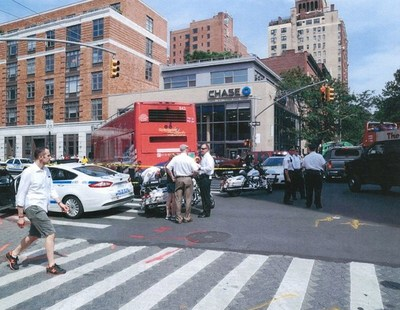 The scene of the accident shortly after Devan Sipher was hit by the bus. Picture: NYPD Highway Patrol