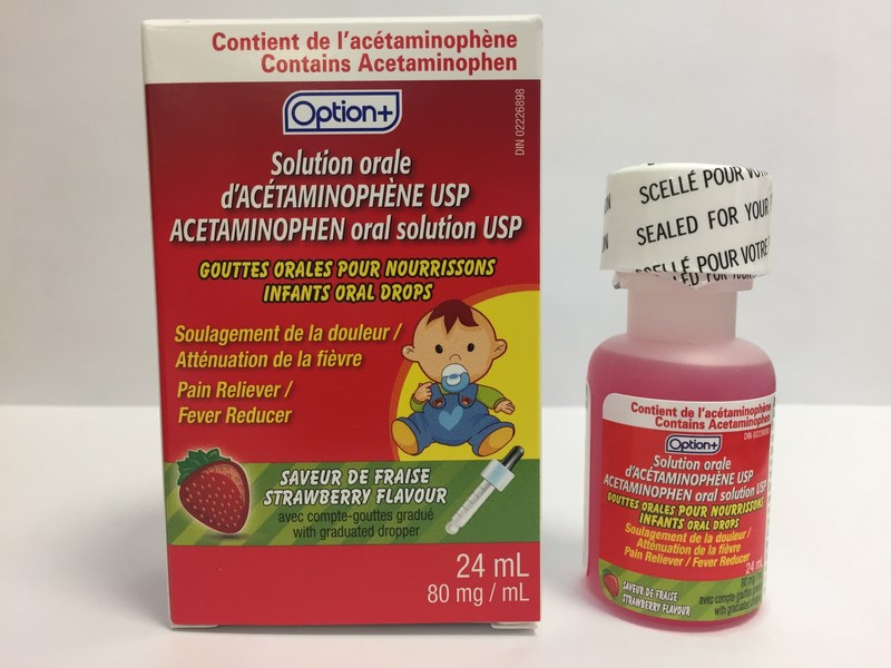 Option+ Acetaminophen infant oral drops USP (80 mg/mL), strawberry flavour 24 mL bottle (CNW Group/Health Canada)