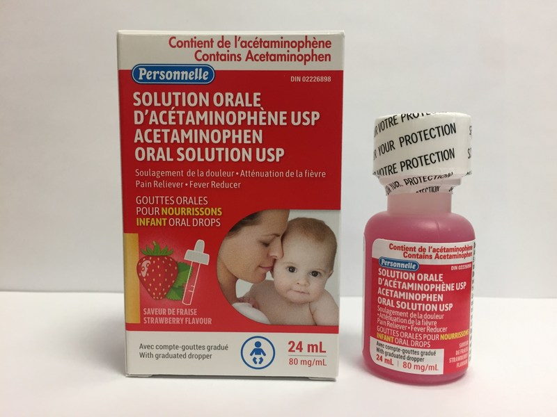 Personnelle Acetaminophen infant oral drops USP (80 mg/mL), strawberry flavour 24 mL bottle (CNW Group/Health Canada)