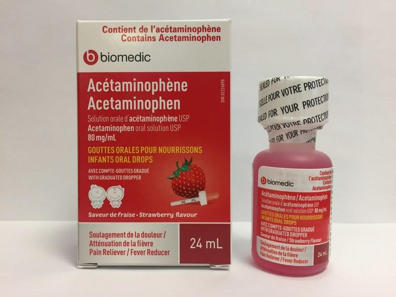 Biomedic Acétaminophène (80 mg/mL) gouttes orales pour nourrissons, saveur de fraise - Bouteille de 24 mL (Groupe CNW/Santé Canada)
