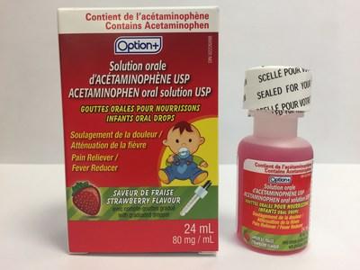 Option+ Gouttes orales d'acétaminophène USP pour nourrissons (80 mg/mL), saveur de fraise - Bouteille de 24 mL (Groupe CNW/Santé Canada)