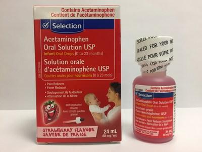 Selection Gouttes orales d'acétaminophène USP pour nourrissons (80 mg/mL), saveur de fraise - Bouteille de 24 mL (Groupe CNW/Santé Canada)