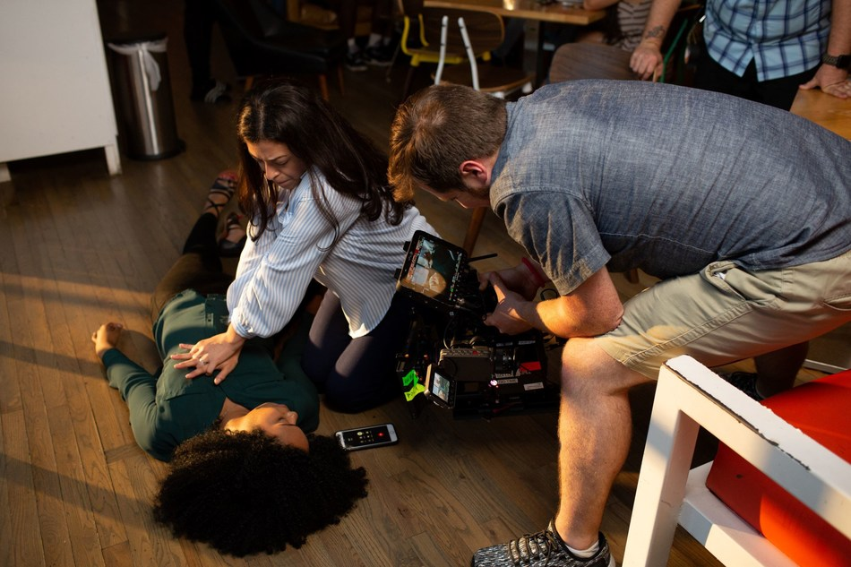 """A behind-the-scenes look from the new American Heart Association video, """"Shared Moments,"""" that depicts the moment that Hands-Only CPR is performed to save the life of a best friend. The video supported by Anthem Foundation raises awareness about the importance of bystander CPR among women."""
