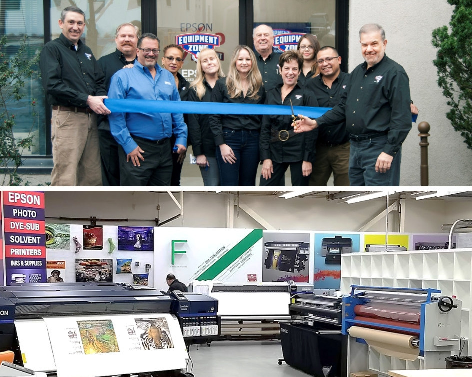 Ribbon-cutting ceremony at opening of Epson Certified Solution Center at Equipment Zone in New Jersey.