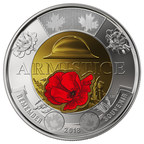 The Royal Canadian Mint's $2 commemorative circulation coin - 100th anniversary of the Armistice (Coloured version) (CNW Group/Royal Canadian Mint)