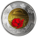 La pièce de circulation de 2 $ de la Monnaie royale canadienne commémorant le 100e anniversaire de l'Armistice (version colorée) (Groupe CNW/Monnaie royale canadienne)
