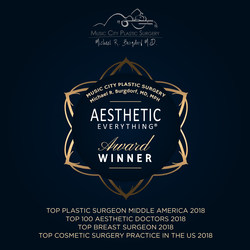 Michael R. Burgdorf, MD, MPH and Music City Plastic Surgery, received top honors in the 2018 Aesthetic Everything® Aesthetic and Cosmetic Medicine Awards