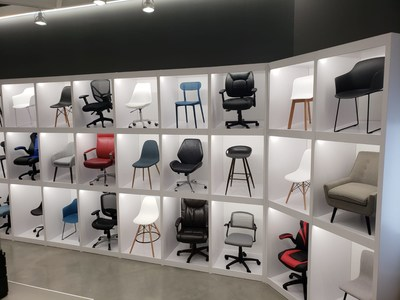 Chair wall display at the new concept Bureau en Gros store in Kirkland, Quebec (CNW Group/Staples Canada Inc.)