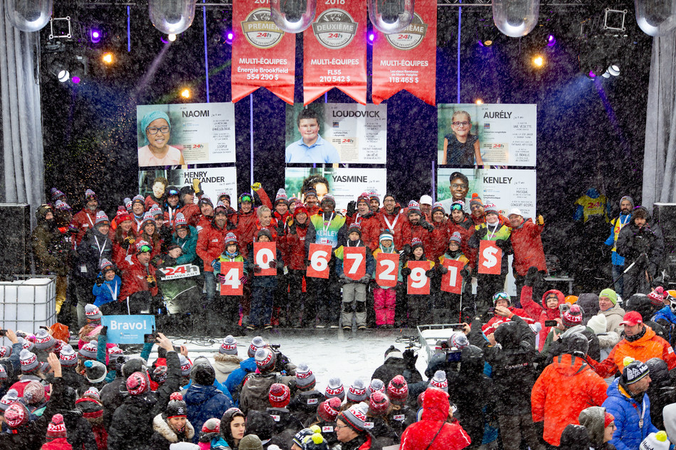 The organizers of Tremblant's 24h are very proud to announce that the 18th edition of its charity fundraiser has reached new heights. Not only did a record number of people sign up to participate – in all, 3,524 who came to ski, walk or run for 24 hours – but also, for the 18th consecutive year, the event shattered its previous records with a donation total of $4,067,291 for children's causes. (CNW Group/24h Tremblant)