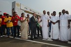 Tamil Nadu Minister for Electricity and Conventional Energy P. Thangamani (3R), the Minister for Rural Industries P. Benjamin (2R), and Chairman of the Shell Companies in India Nitin Prasad (C) take part in the flag-off on day two of Shell Make the Future India 2018 at the Madras Motor Race Track on Thursday, Dec. 7, 2018, in Chennai, India. (Jinggo Montenejo/AP Images for Shell) (PRNewsfoto/Edelman)