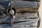 Handmade Sterling Silver, Petoskey Stone, & Leather Bracelet - Jewelry By Jake