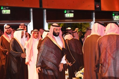 HRH Crown Prince Mohammed bin Salman bin Abdulaziz arriving at the ground-breaking ceremony of the King Salman Energy Park