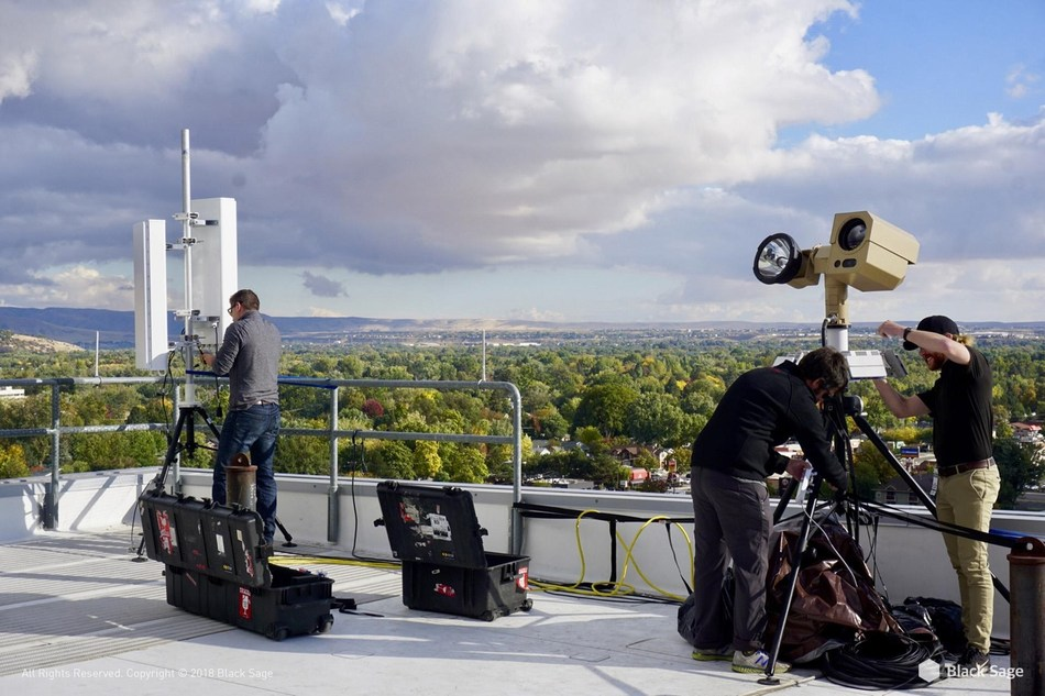 Setting up the Counter-UAS system on top of the stadium