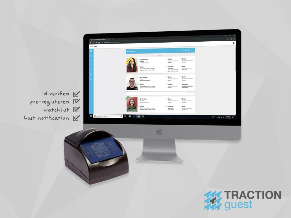 Traction Guest is advancing visitor management to strengthen enterprise security with a new Assisted-Check-In (ACI) module. Using high-end ID scanners (like the ones at airport security) security professionals can verify a visitor's government-issued ID card or passport as part of their visitor management protocol, creating a seamless and secure experience. (CNW Group/Traction Guest)
