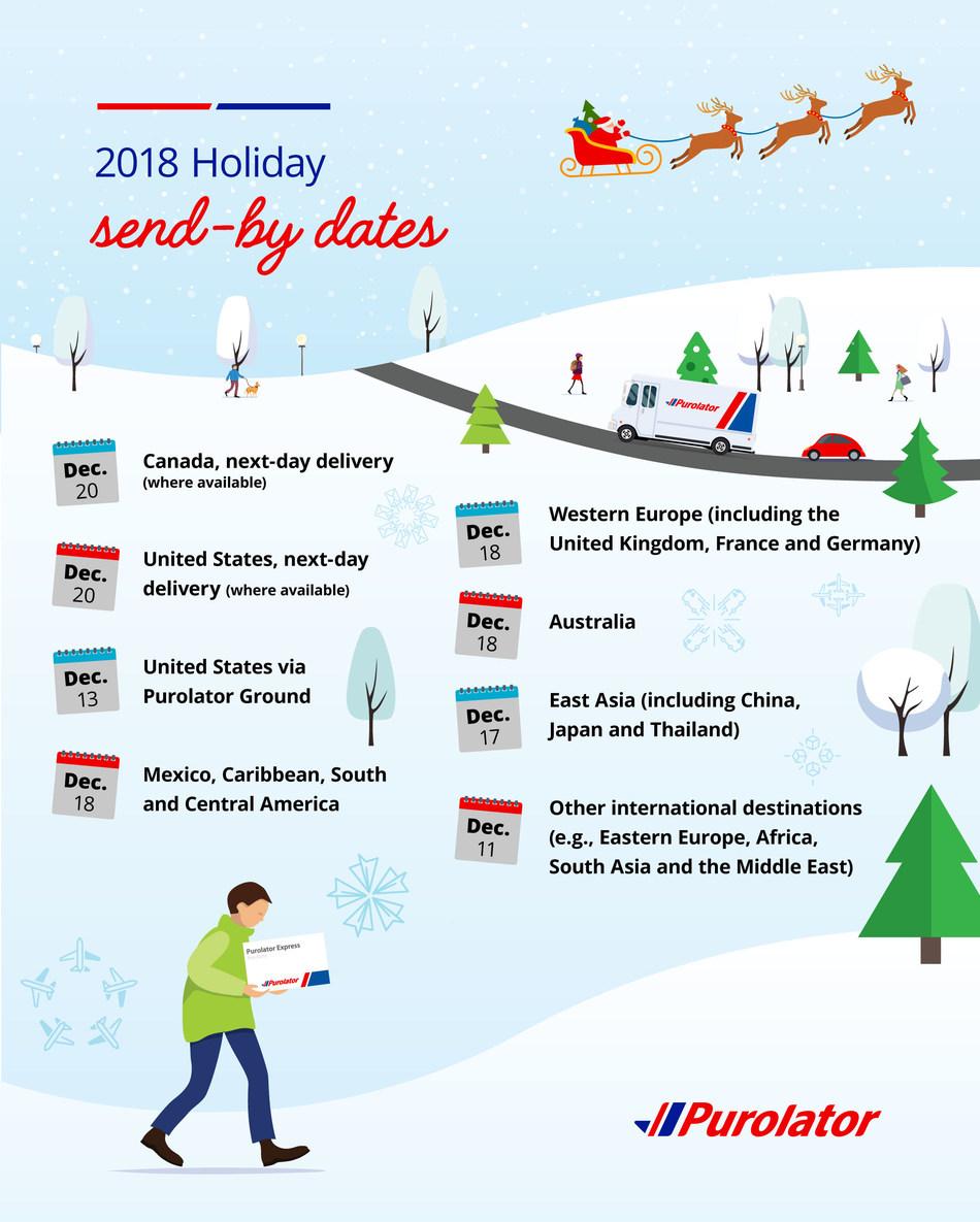 2018 Holiday send-by dates (CNW Group/Purolator Inc.)