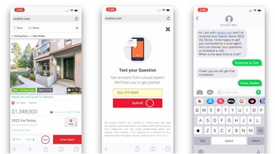 Consumers can now use SMS to indicate their interest in a property to a realtor.com® representative, who will then match and connect them to a real estate professional on the phone.