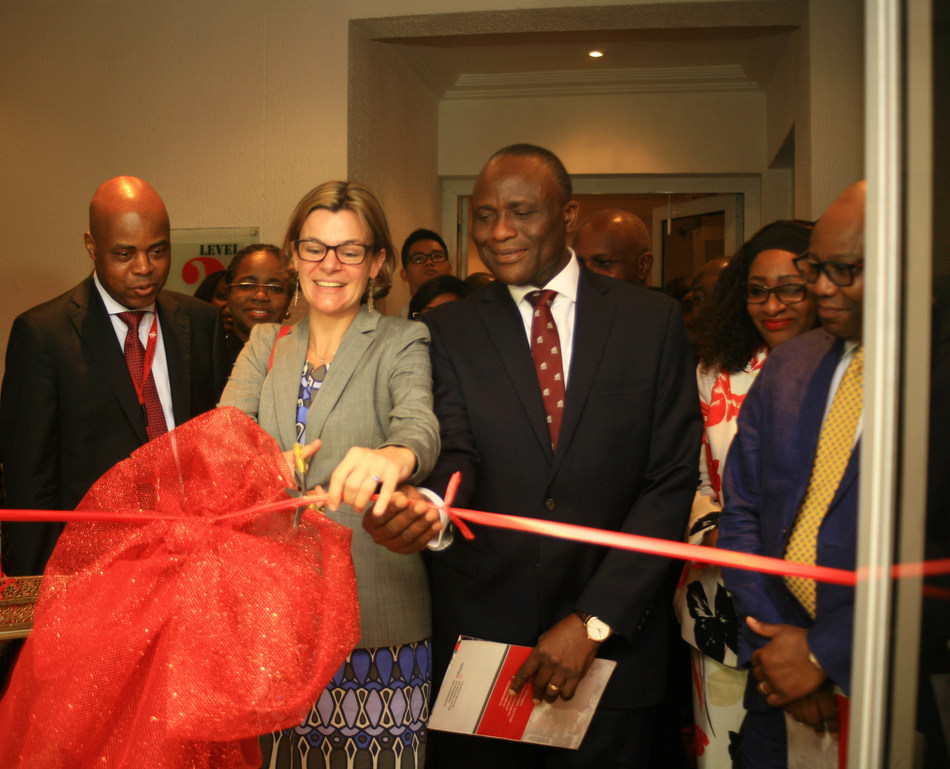L-R: Chief of Surgery & Group Medical Director, Reddington Hospital, Dr. Olutunde Lalude, British Deputy High Commissioner, Ms Laure Beaufils; Chief Executive Officer, Reddington Hospital, Dr Adeyemi Onabowale and Chief Intensive Care & Medical Director, Davison Critical Care Centre, Dr Babaseyi Oyesola at the Inauguration of Davidson Specialist Surgery & Critical Care Centre in Lagos recently (PRNewsfoto/Reddington Hospital)