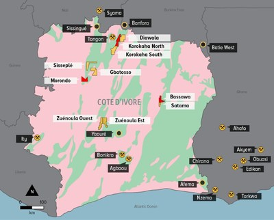 FIGURE 1: Orca Exploration Portfolio in Côte d'Ivoire (CNW Group/Orca Gold Inc.)