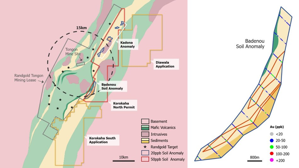 FIGURE 2: Korokaha North Gold Project with Badenou Soil Anomaly (CNW Group/Orca Gold Inc.)