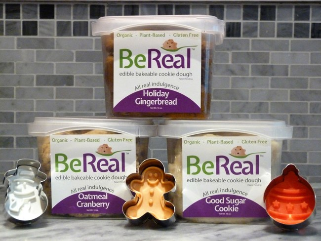 Festive new gluten-free edible cookie dough flavors now available: Holiday Gingerbread, Good Sugar Cookie, Oatmeal Cranberry. Ready to bake (or eat raw).