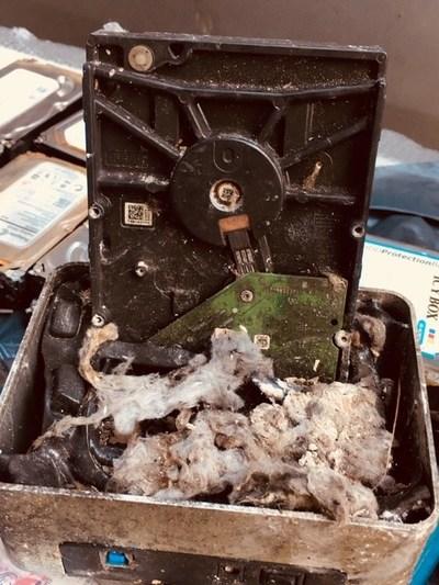 Fiji burnt hard drive (PRNewsfoto/Ontrack)