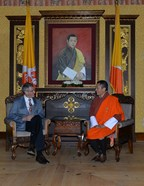Hubert Sagnieres, Chairman, Essilor, with Dr. Lotay Tshering, Prime Minister of Bhutan.
