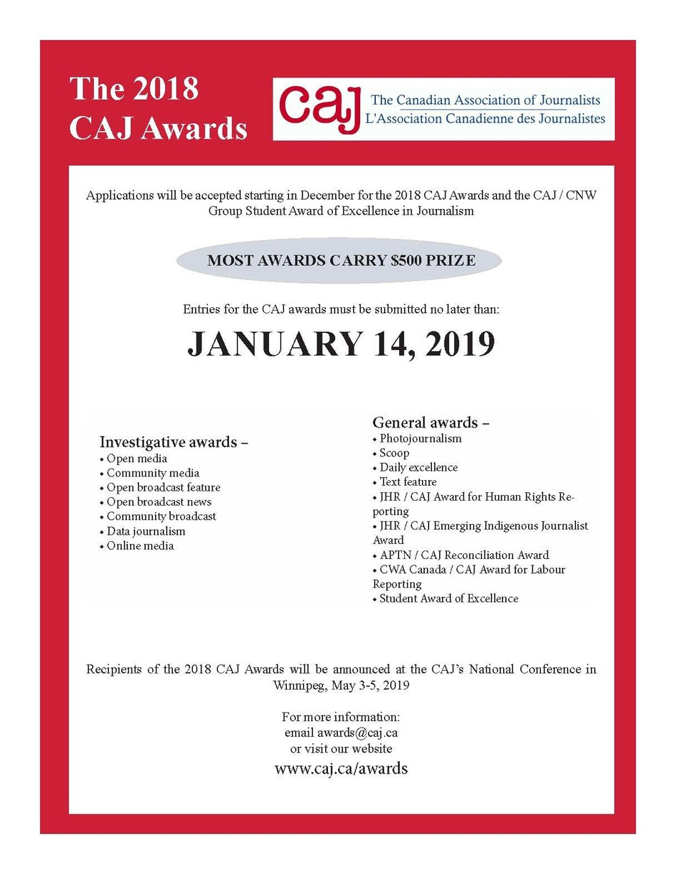 Entries now being accepted for the 2018 CAJ Awards program (CNW Group/Canadian Association of Journalists)
