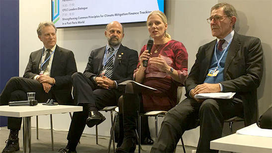 Minister McKenna speaks about Canada's plan for pricing pollution, alongside other climate leaders at the Carbon Pricing Leadership Coalition discussion. (CNW Group/Environment and Climate Change Canada)