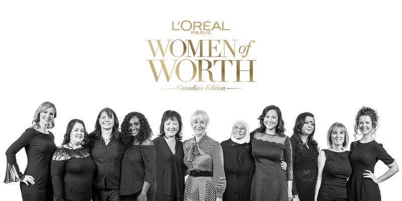 Dame Helen Mirren and the 2018 Women of Worth Honourees. Photo credit: L'Oréal Paris c/o Ryan Emberley (CNW Group/L'Oréal Paris Canada)