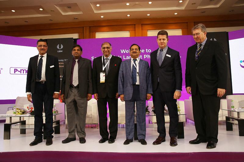 (L-R): Mr. Yogesh Mudras, Managing Director, UBM India; Shri KV Rajendranath Reddy, IPS, Director General, Drugs Control Administration, Government of Andhra Pradesh; Dr. Dinesh Dua, Chairman, Nectar Life Sciences Ltd; Shri Satish W. Wagh, Chairman - CHEMEXCIL; Mr. Adam Andersen, Group Brand Director-Pharma, Informa and Mr. Michael Duck, Executive Vice President, UBM Asia Ltd at the inaugural ceremony of CPhI & P-MEC 2018 at India Expo Centre, Greater Noida. (PRNewsfoto/UBM India Pvt. Ltd.)