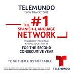 Por segundo año consecutivo, Telemundo está en camino para cerrar el 2018 como la cadena nº 1 en español en el horario estelar de lunes a viernes entre los adultos 18-49 para continuar siendo la opción y la voz preferida de los hispanos