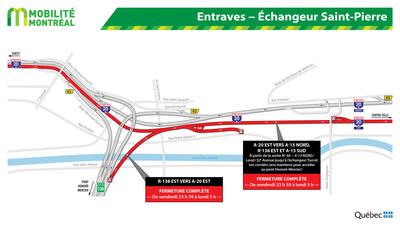 Entraves - Secteur de l'échangeur Saint-Pierre (Groupe CNW/Ministère des Transports)
