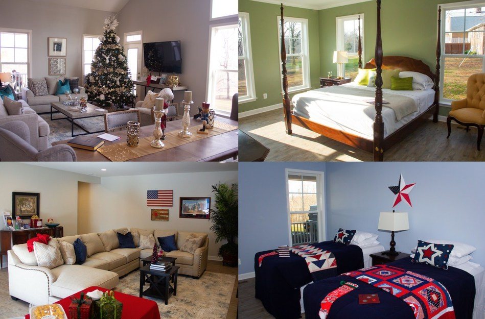 Top Left to Right: PenFed Foundation Home living room, master bedroom. Bottom Left to Right: Recreation room, kids' bedroom.