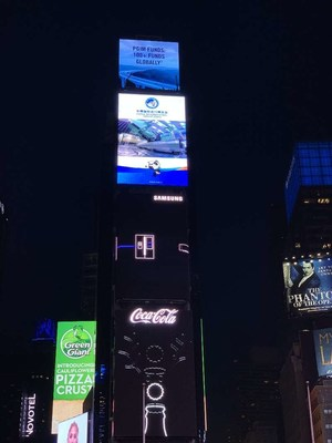 A promo clip of CIIE is played on an advertising screen at NYC Times Square.