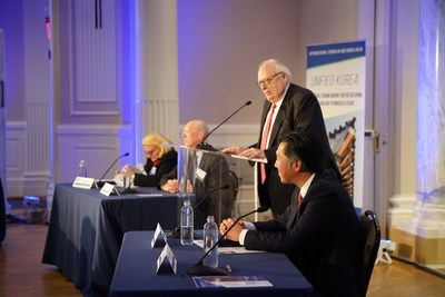 Heritage Foundation Founder Edwin Feulner addresses a forum on Korea unification at the Carnegie Institution for Science in Washington, DC. Other panelists included (from left) Alicia Campi, President of the Asian Politics and History Association; John Everard, Former UK Ambassador to Democratic People's Republic of Korea, and Hyun Jin Preston Moon, Founder and Chairman of the Global Peace Foundation.
