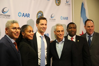 From left, City Colleges of Chicago Chancellor Juan Salgado; President of Olive-Harvey College Kimberly Hollingsworth; AAR President and CEO John Holmes; Mayor Rahm Emanuel; Illinois State Rep. Marcus Evans (33rd); and Ald. Matthew O'Shea (19th Ward).
